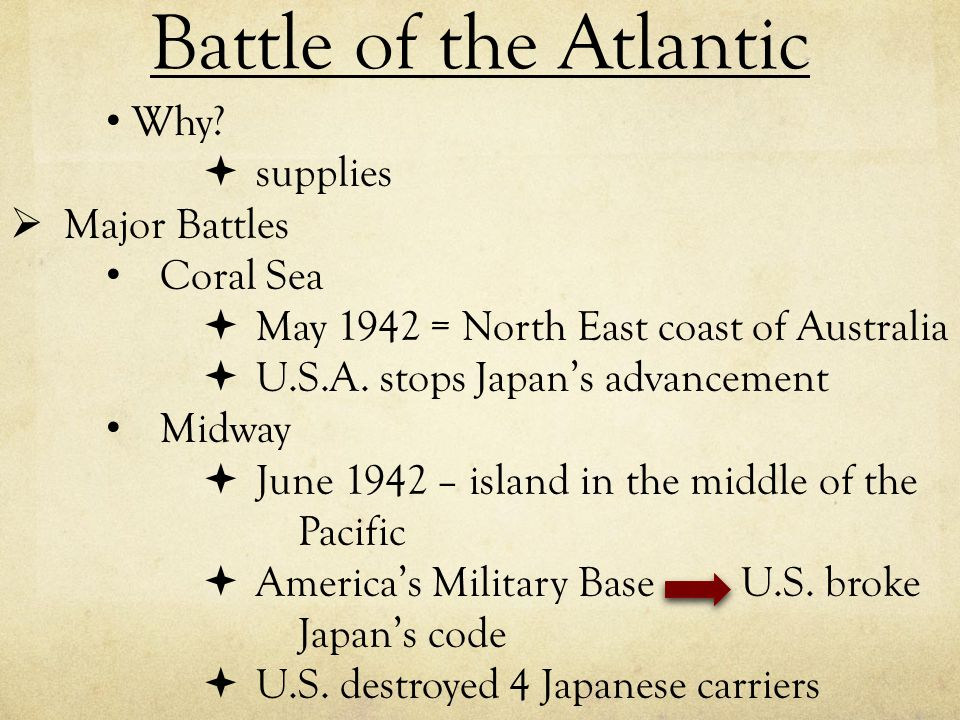 Battle of the Atlantic Why supplies Major Battles Coral Sea
