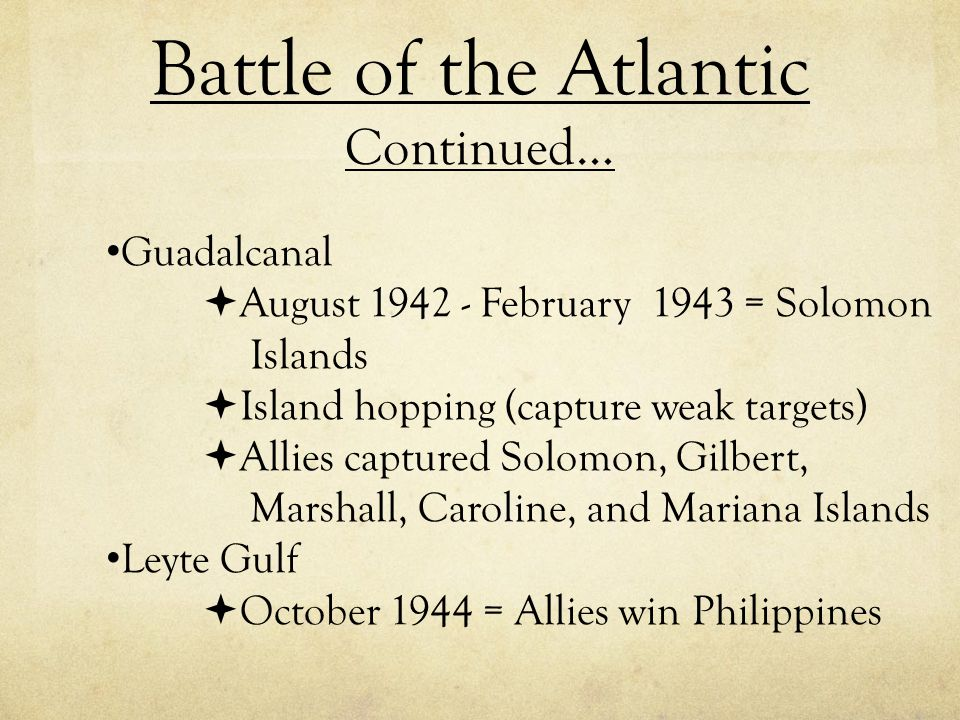Battle of the Atlantic Continued…