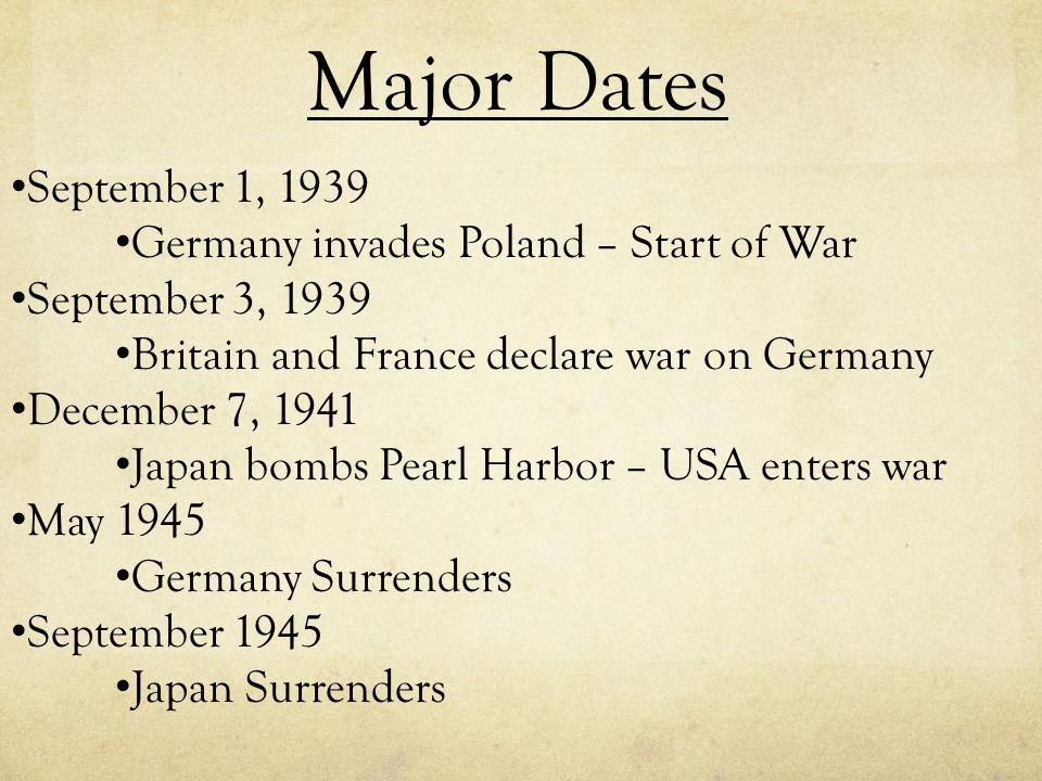 Major Dates September 1, 1939 Germany invades Poland – Start of War