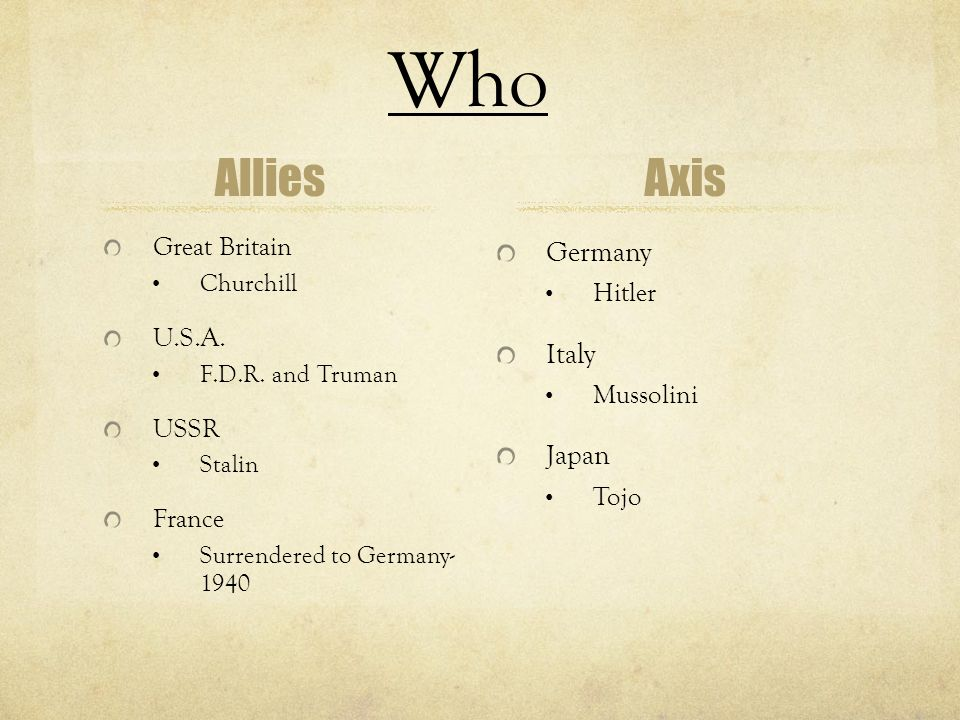 Who Allies Axis Germany Italy Japan Great Britain Hitler U.S.A.