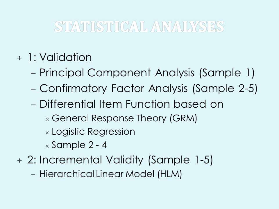 Statistical analyses 1: Validation