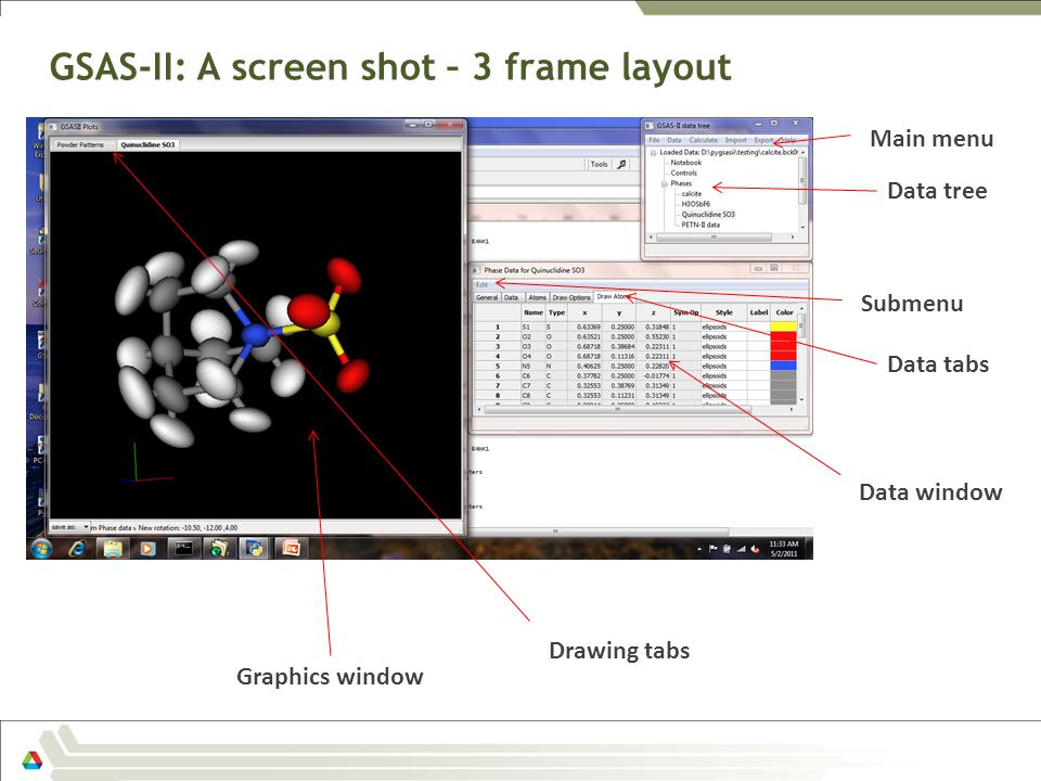 GSAS-II: A screen shot – 3 frame layout