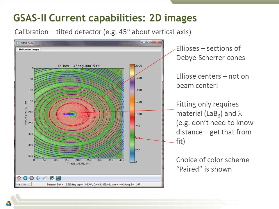 GSAS-II Current capabilities: 2D images