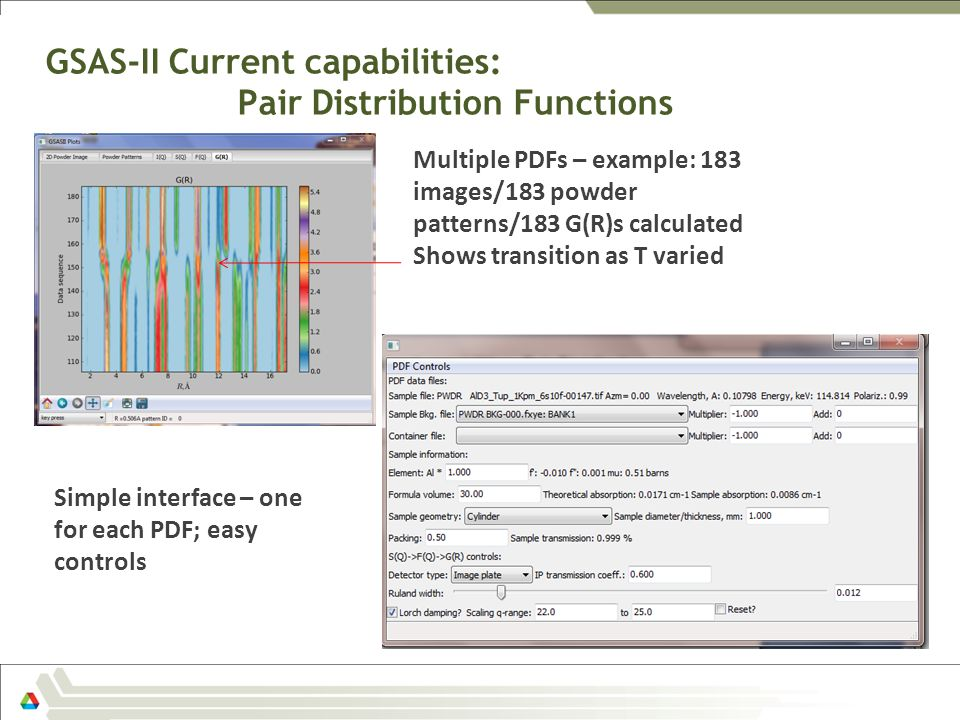 GSAS-II Current capabilities: Pair Distribution Functions