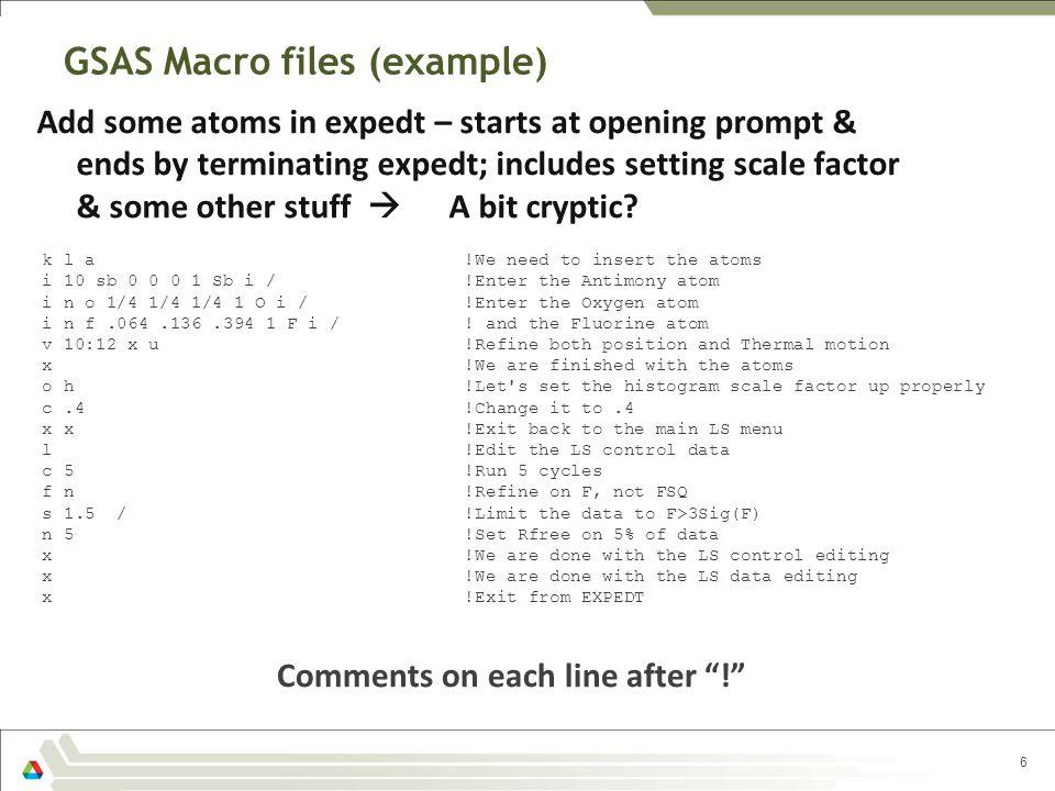 GSAS Macro files (example)