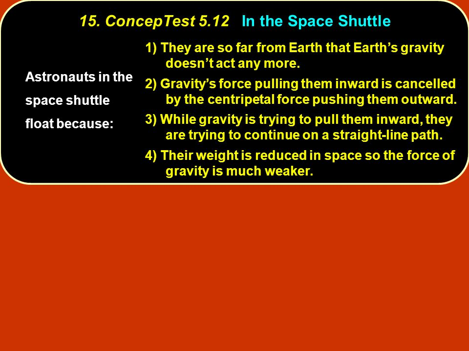 15. ConcepTest 5.12 In the Space Shuttle