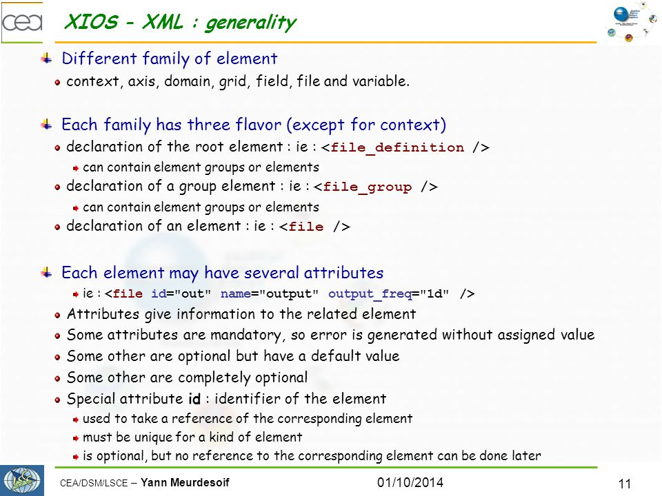 XIOS - XML : generality Different family of element
