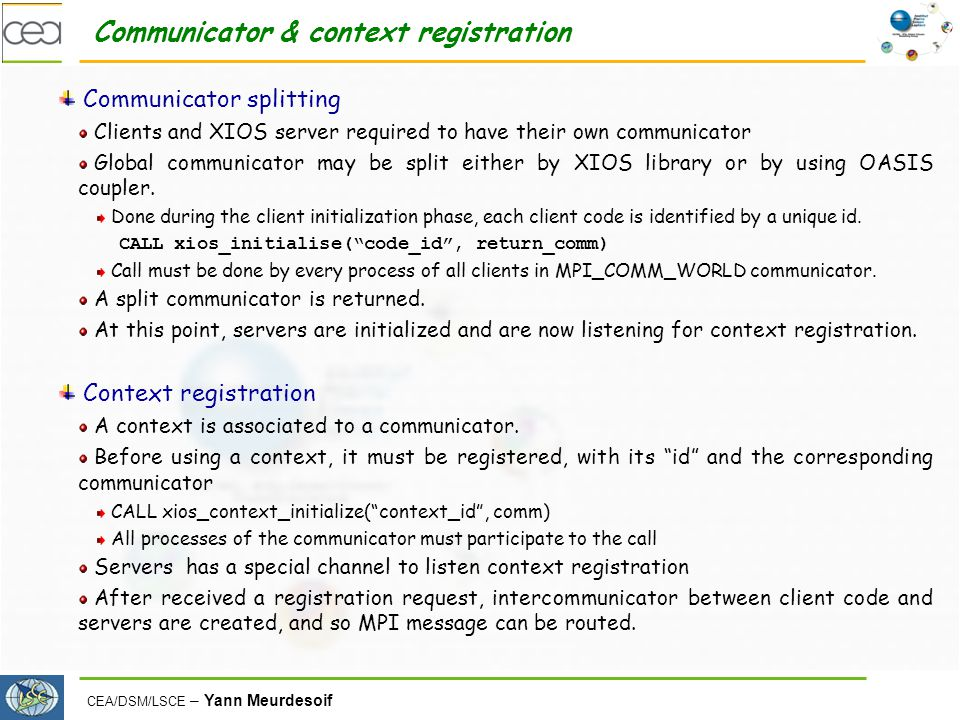 Communicator & context registration