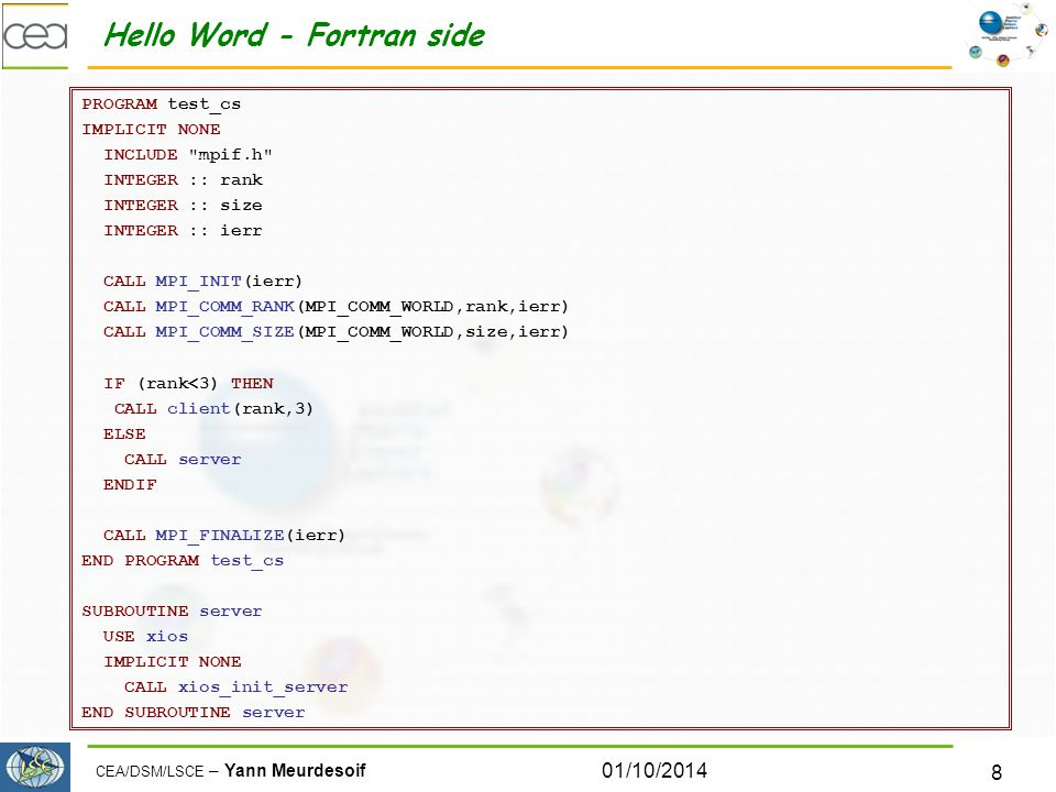 Hello Word - Fortran side