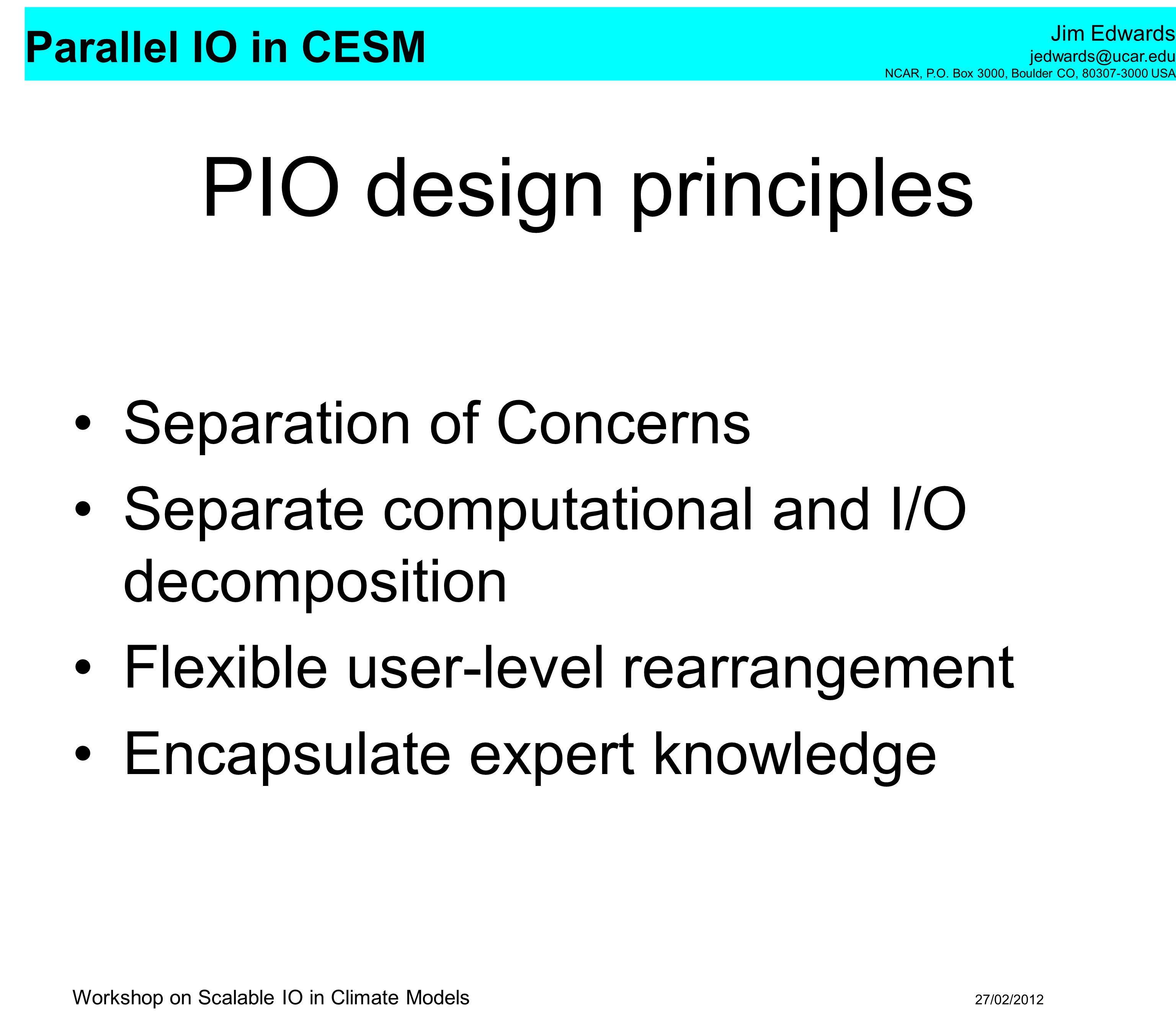 PIO design principles Separation of Concerns