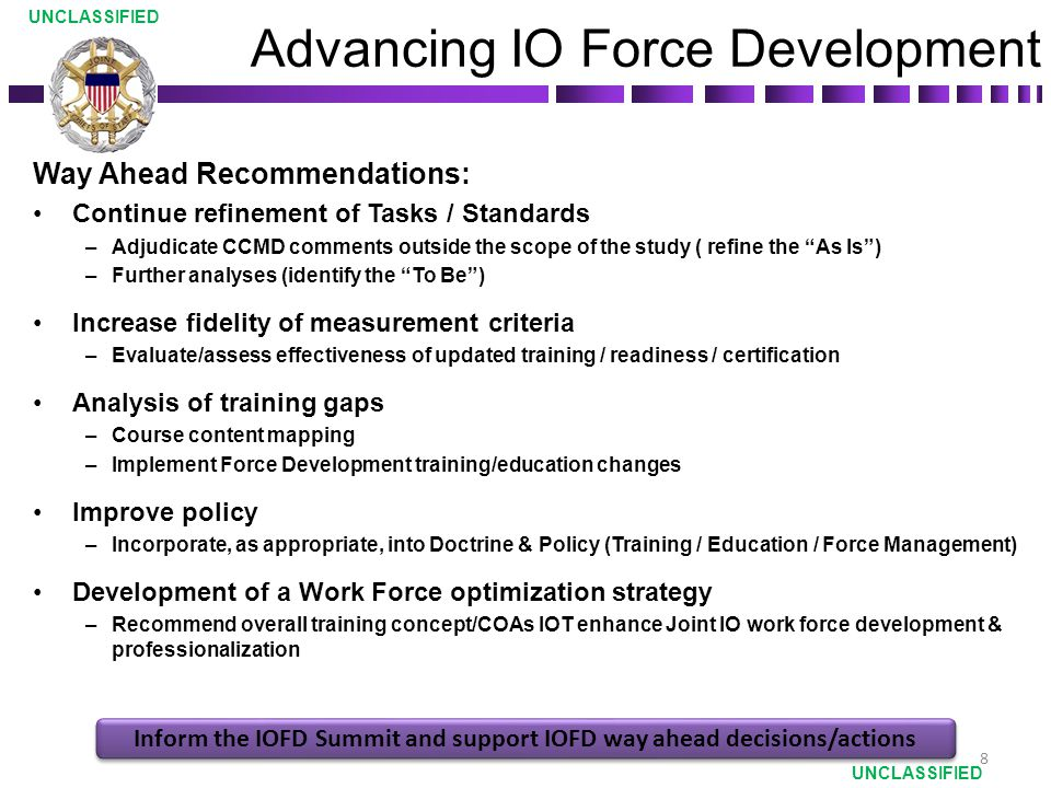 Advancing IO Force Development