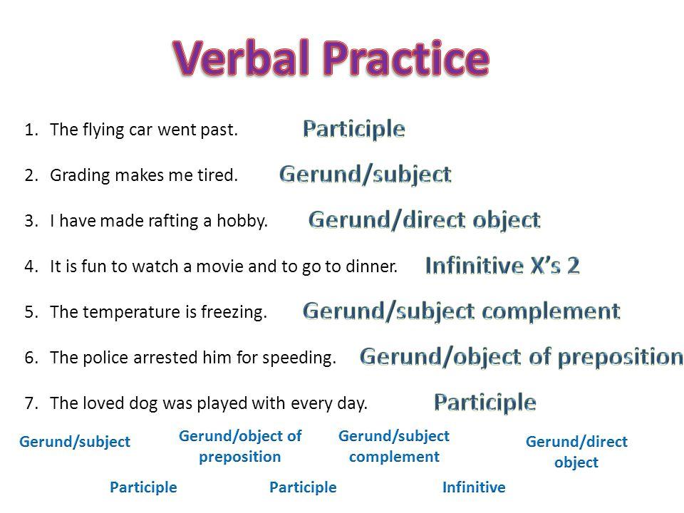 Verbal Practice Participle Gerund/subject Gerund/direct object