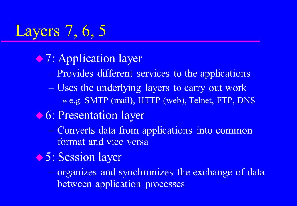 Layers 7, 6, 5 7: Application layer 6: Presentation layer