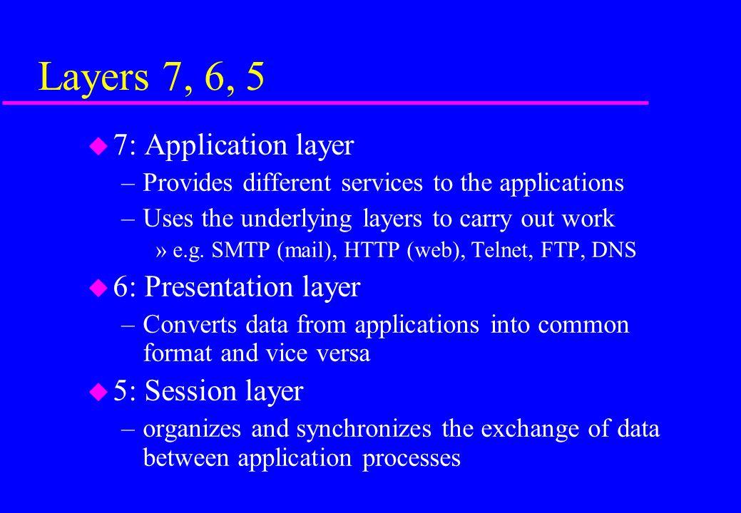 Layers 7, 6, 5 7: Application layer 6: Presentation layer