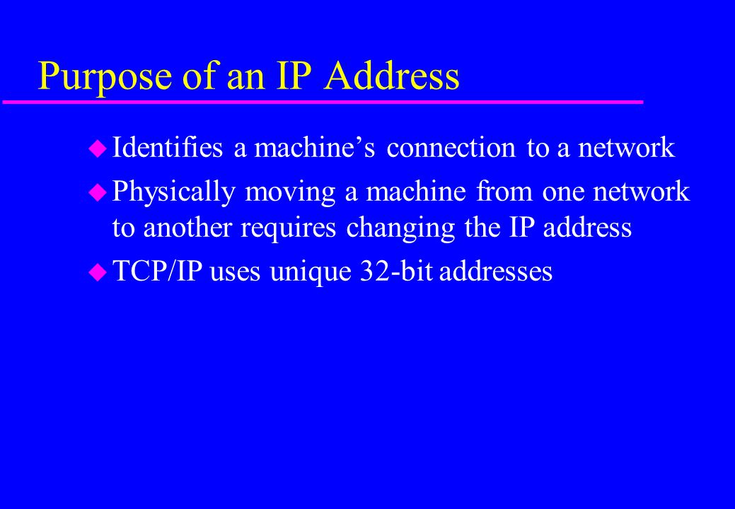 Purpose of an IP Address