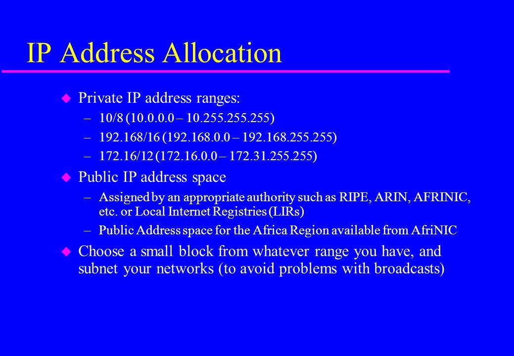 IP Address Allocation Private IP address ranges: