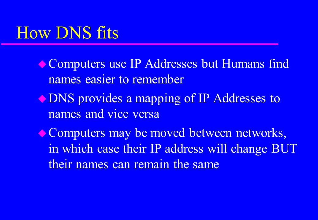 How DNS fits Computers use IP Addresses but Humans find names easier to remember. DNS provides a mapping of IP Addresses to names and vice versa.