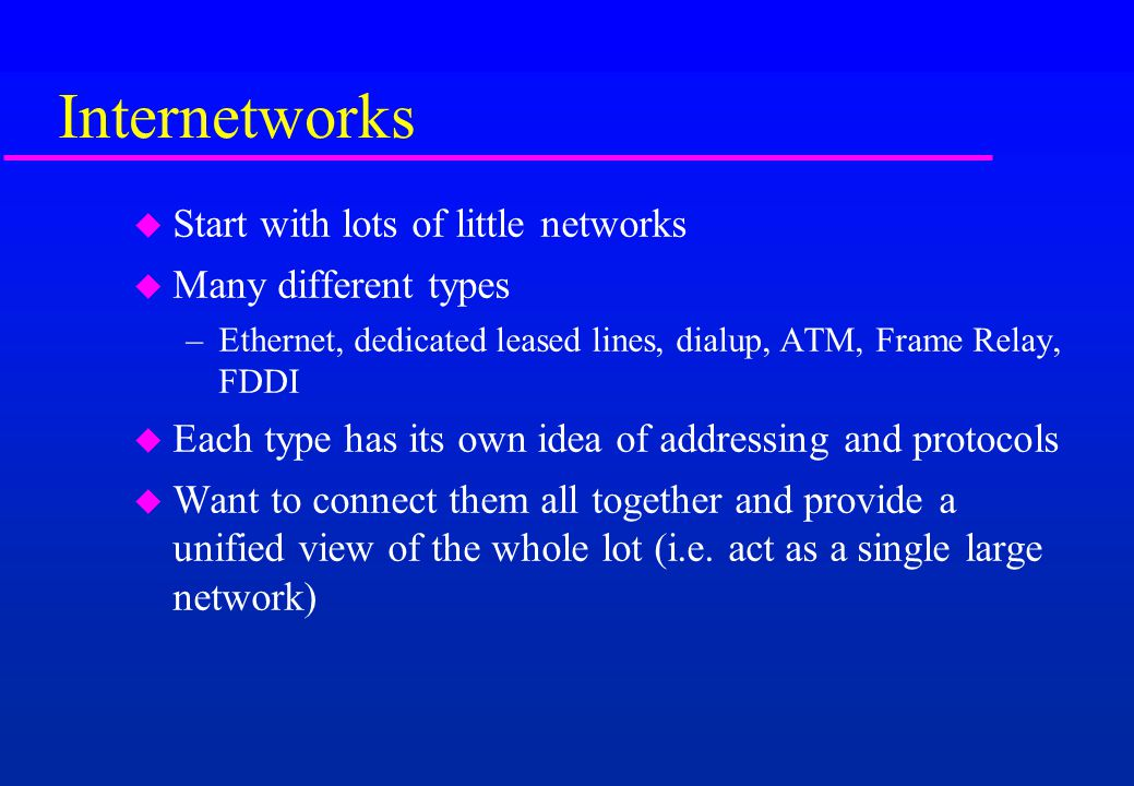Internetworks Start with lots of little networks Many different types