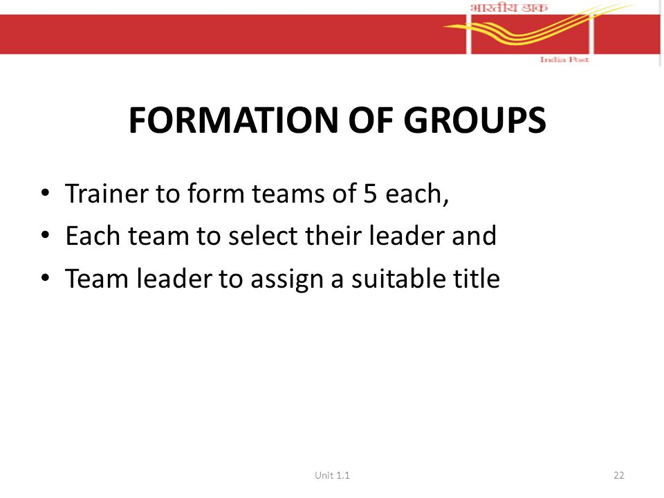 FORMATION OF GROUPS Trainer to form teams of 5 each,