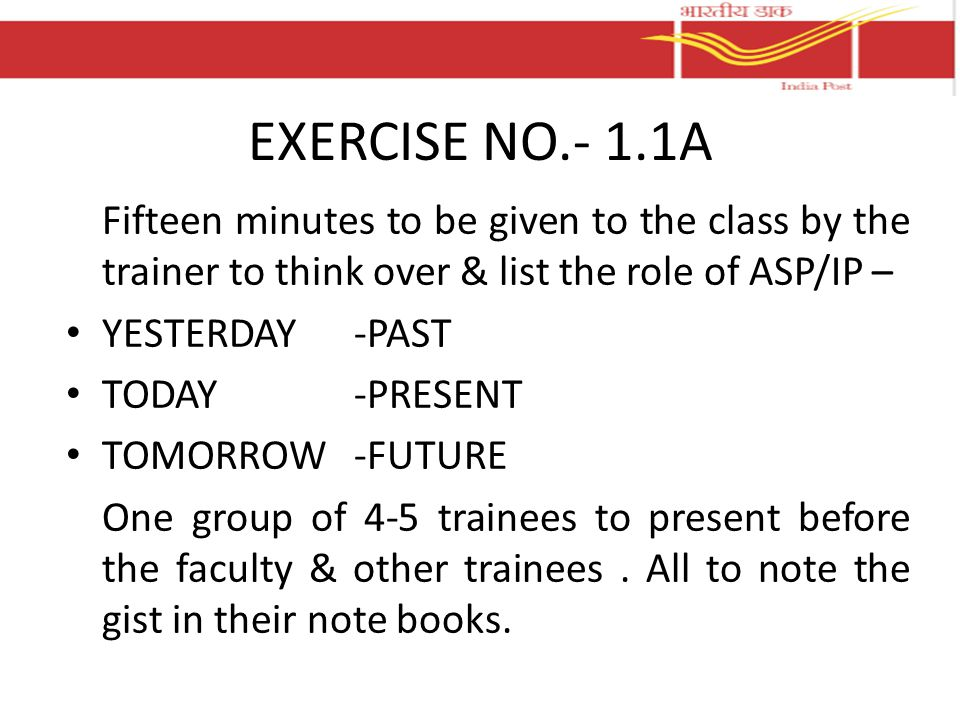 EXERCISE NO.- 1.1A Fifteen minutes to be given to the class by the trainer to think over & list the role of ASP/IP –