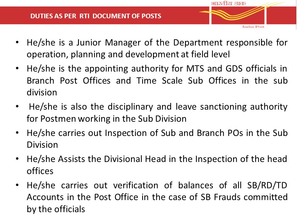 DUTIES AS PER RTI DOCUMENT OF POSTS