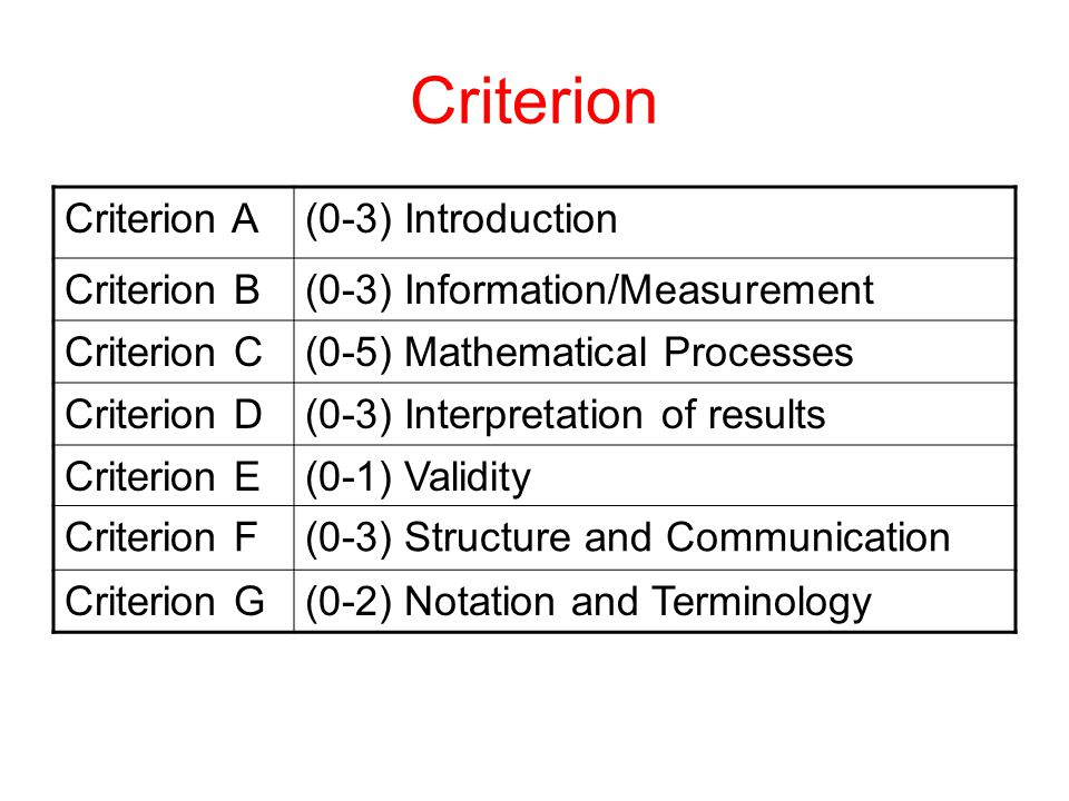 Criterion Criterion A (0-3) Introduction Criterion B