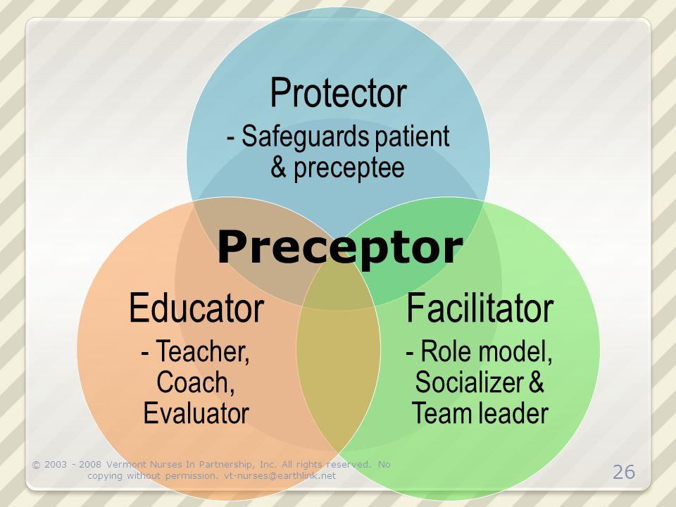 Preceptor Prot ecto r Faci litat or Edu cato r