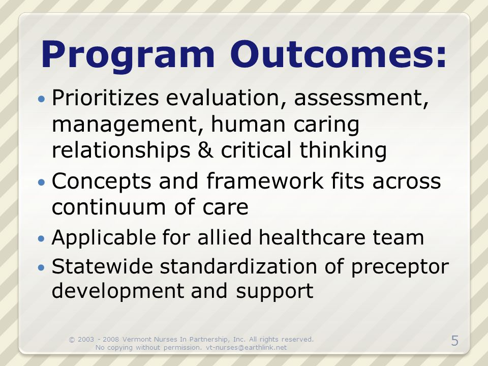Program Outcomes: Prioritizes evaluation, assessment, management, human caring relationships & critical thinking.