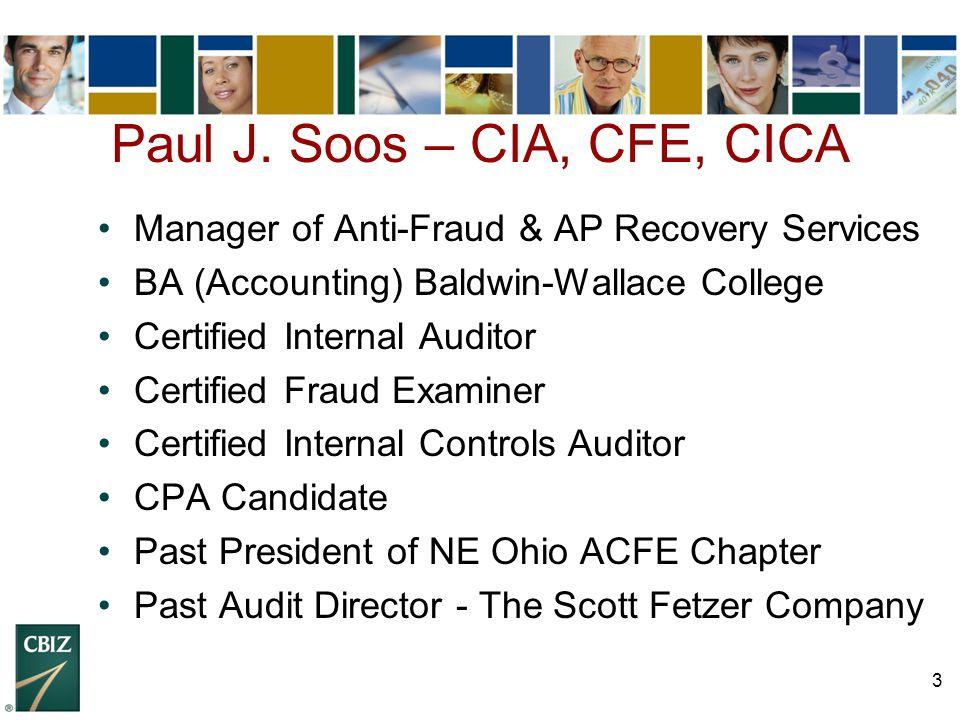 Paul J. Soos – CIA, CFE, CICA