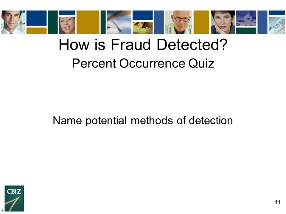 How is Fraud Detected Percent Occurrence Quiz