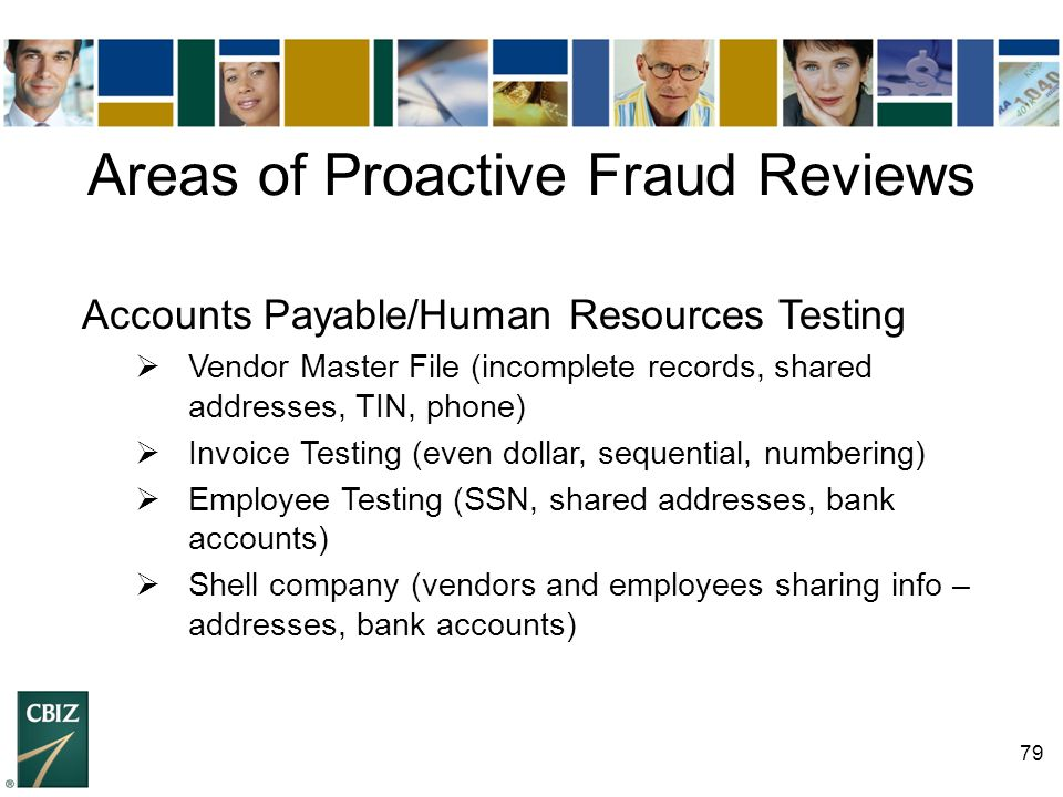 Areas of Proactive Fraud Reviews