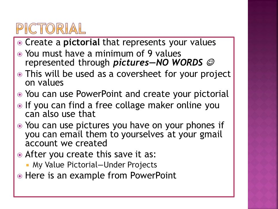 pictorial Create a pictorial that represents your values