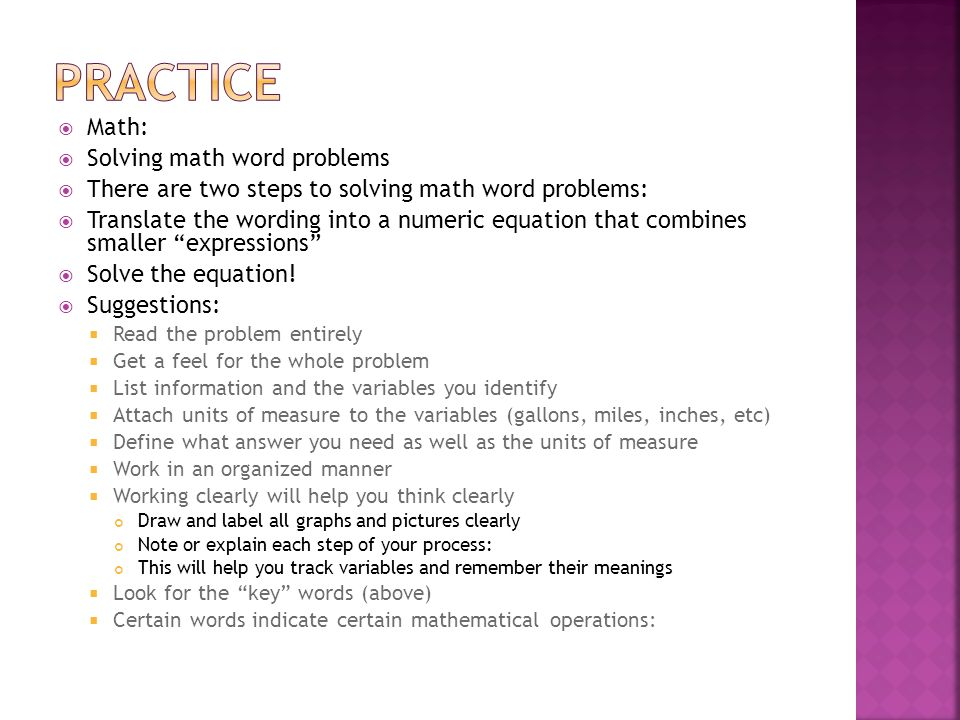 Practice Math: Solving math word problems