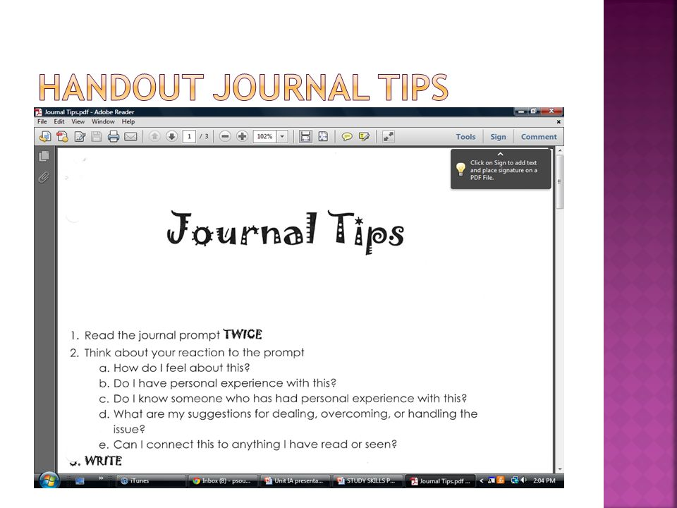 Handout Journal TIps