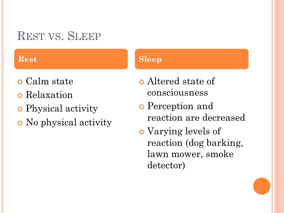 Rest vs. Sleep Calm state Relaxation Physical activity
