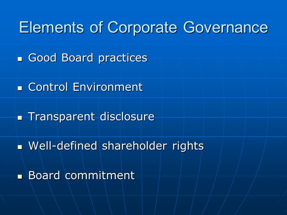 Elements of Corporate Governance