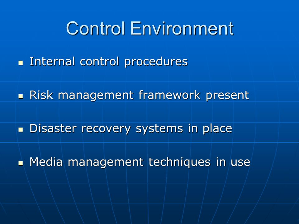 Control Environment Internal control procedures