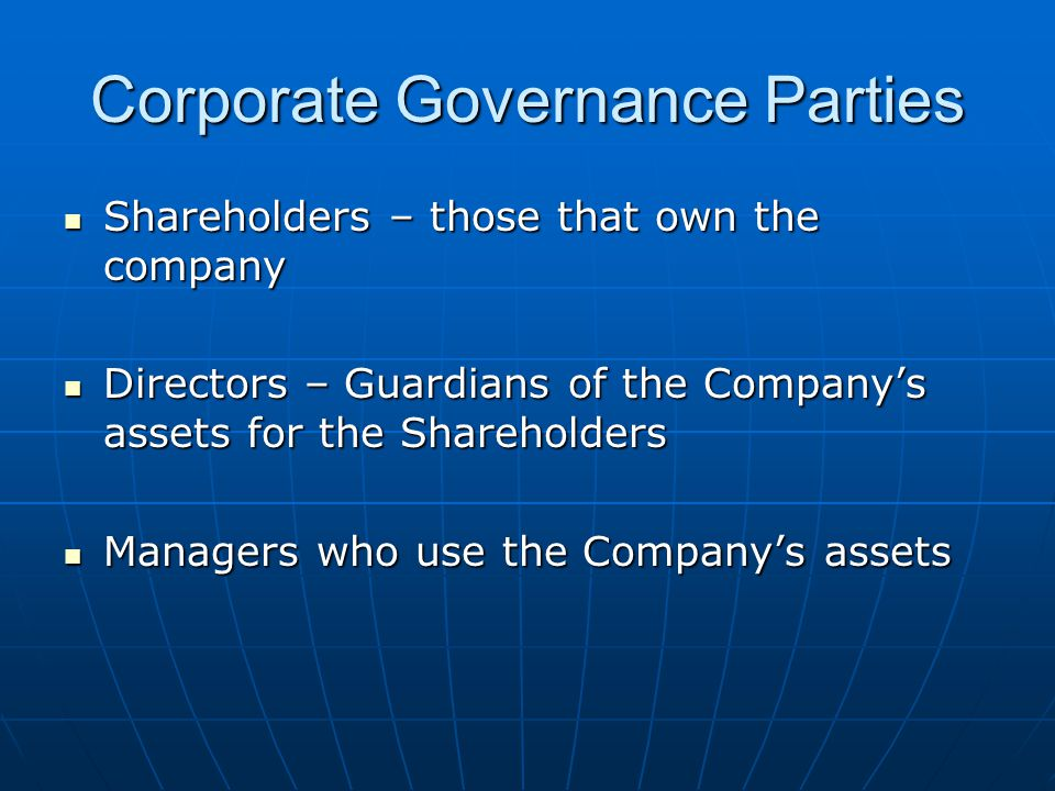 Corporate Governance Parties