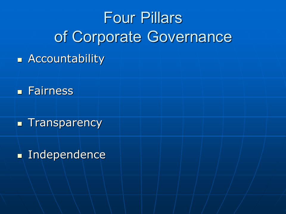 Four Pillars of Corporate Governance