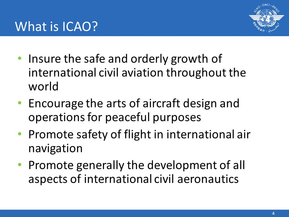 What is ICAO Insure the safe and orderly growth of international civil aviation throughout the world.