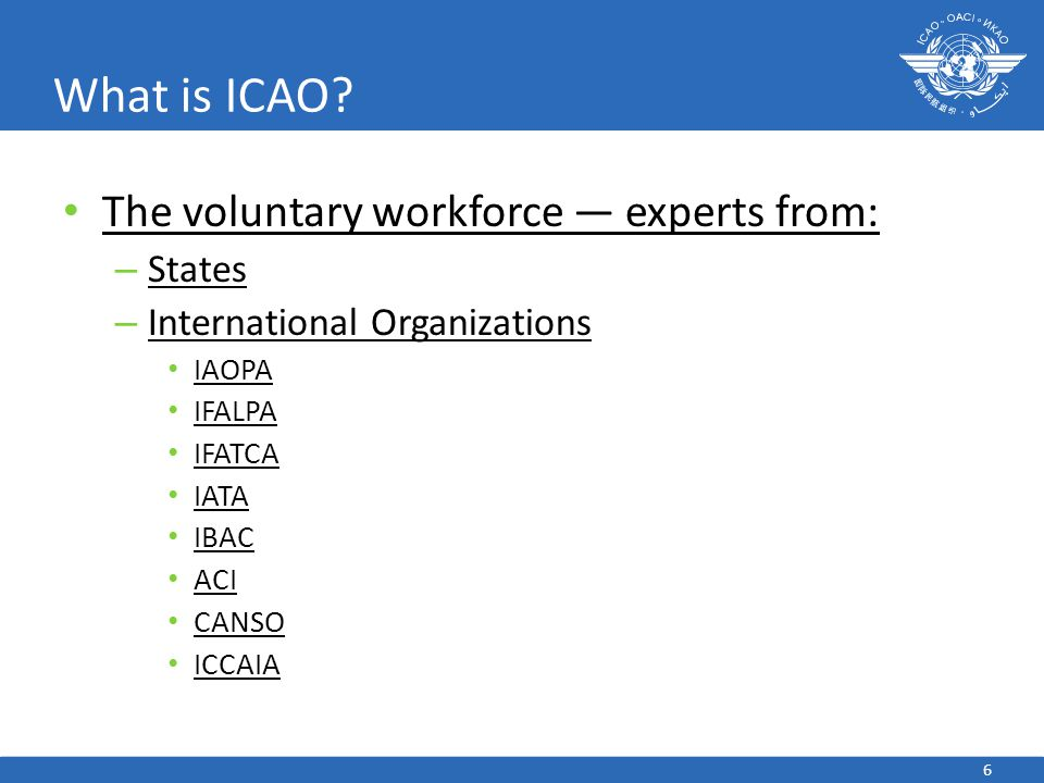 What is ICAO The voluntary workforce — experts from: States