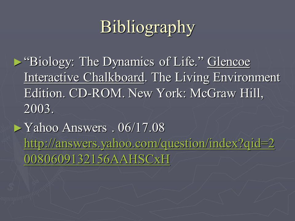 Bibliography Biology: The Dynamics of Life. Glencoe Interactive Chalkboard. The Living Environment Edition. CD-ROM. New York: McGraw Hill, 2003.