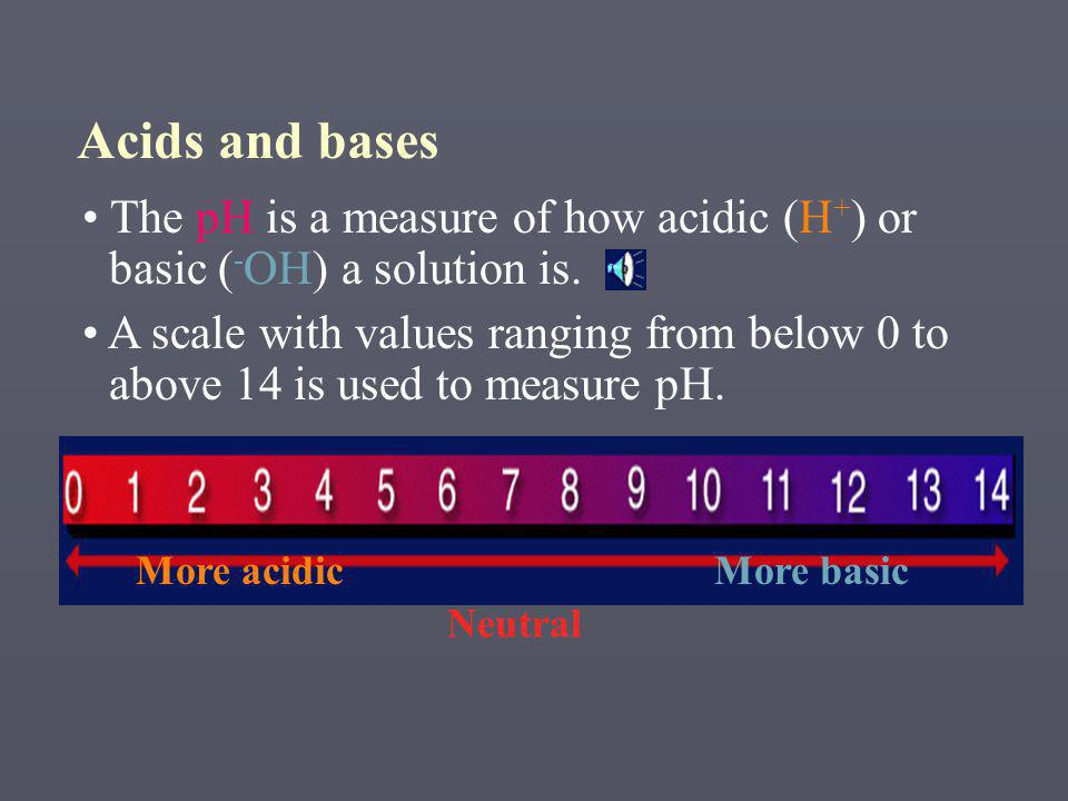 Acids and bases The pH is a measure of how acidic (H+) or basic (-OH) a solution is.