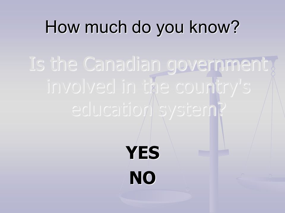 Is the Canadian government involved in the country s education system