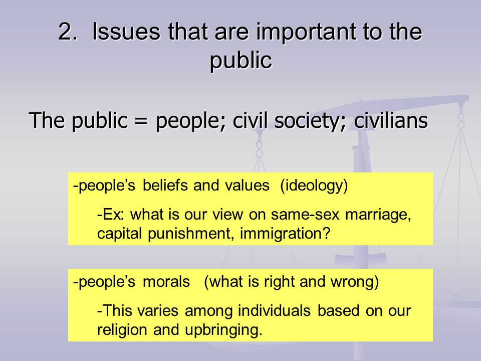 2. Issues that are important to the public