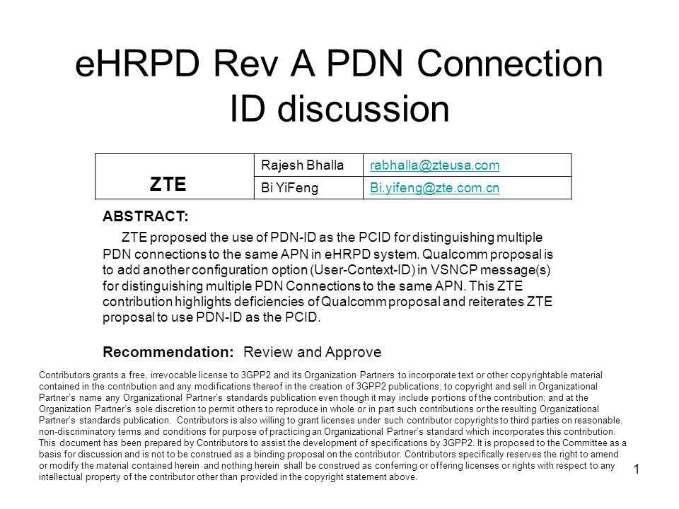 eHRPD Rev A PDN Connection ID discussion
