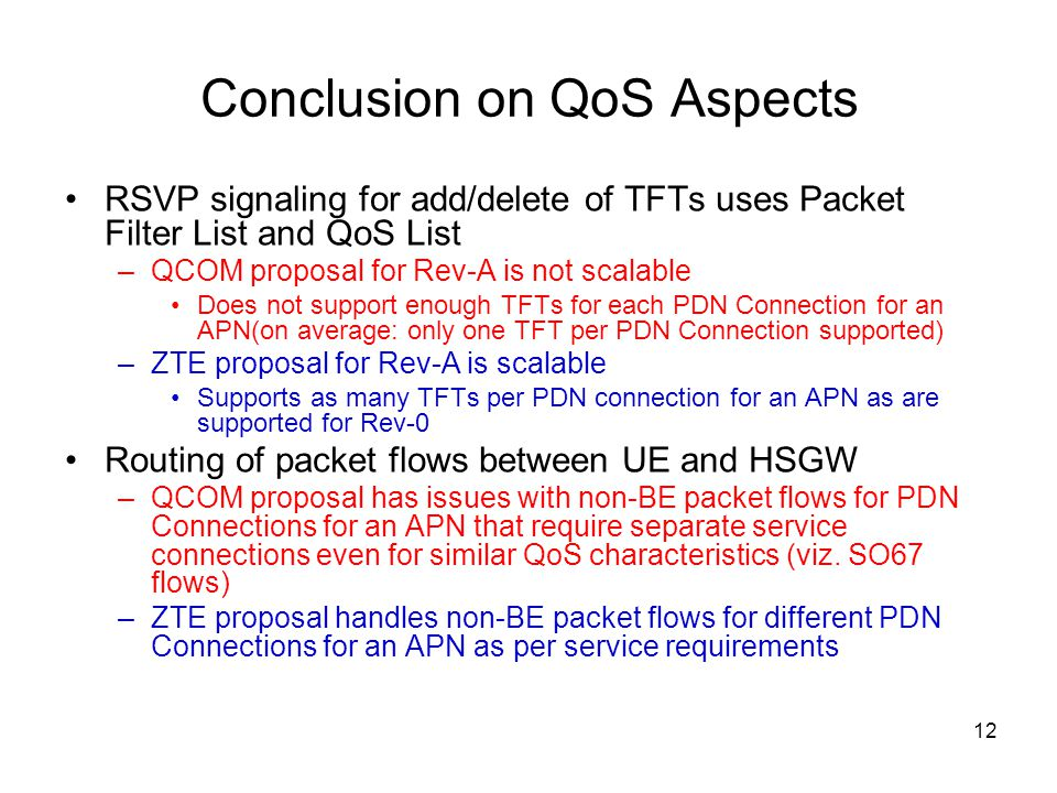 Conclusion on QoS Aspects