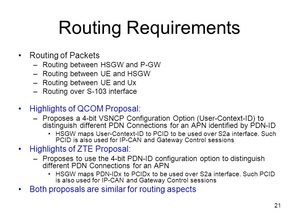 Routing Requirements Routing of Packets Highlights of QCOM Proposal: