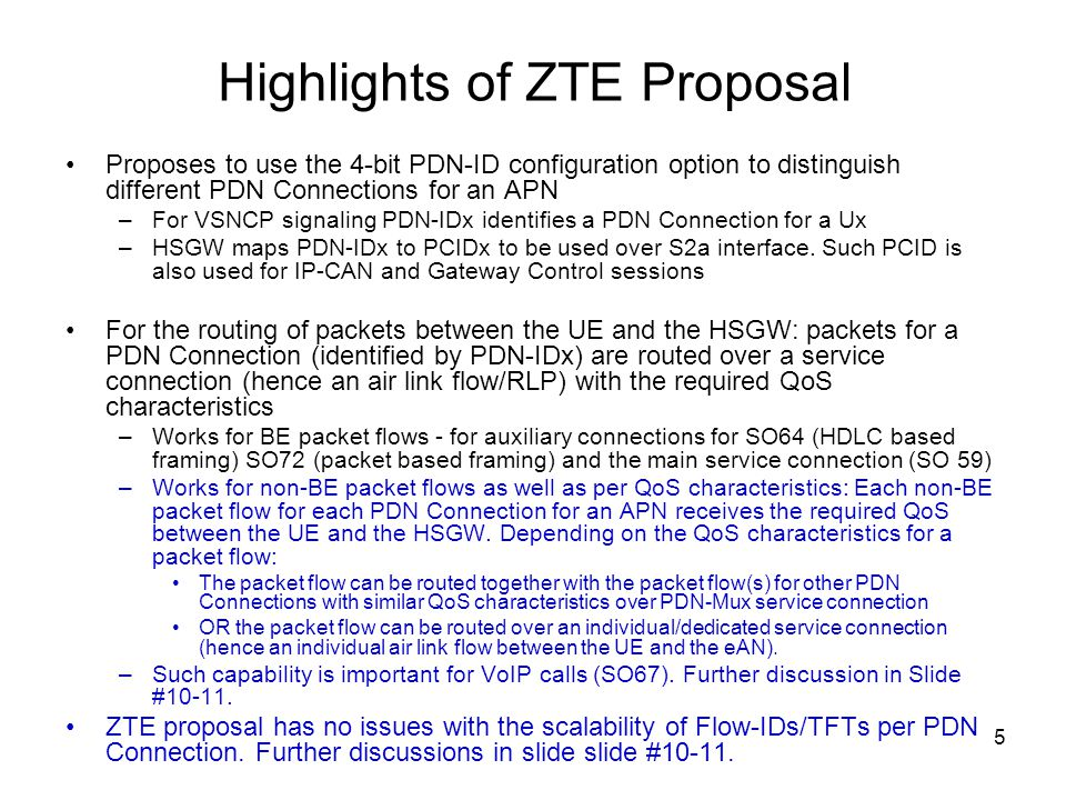 Highlights of ZTE Proposal