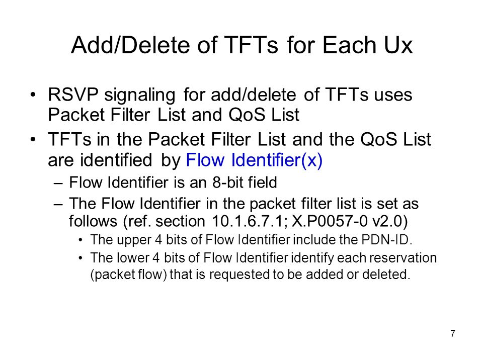 Add/Delete of TFTs for Each Ux